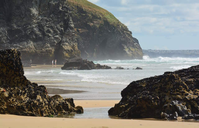 On the beach at Bedruthan Steps