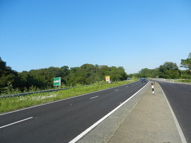 Looking east on the A27