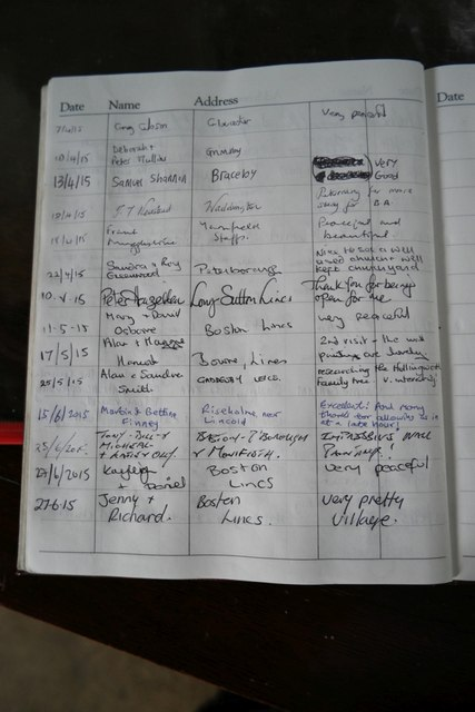 Church of St Andrew, Pickworth: Visitors book