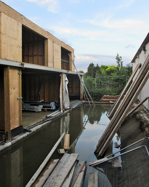 Hartington Grove: flooded building site