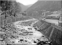 SS7249 : Lynmouth, 1960: SE from Lynford Bridge up East Lyn River by Ben Brooksbank