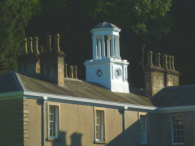 White, pillared cupola on the southerly wing of Dallam Tower