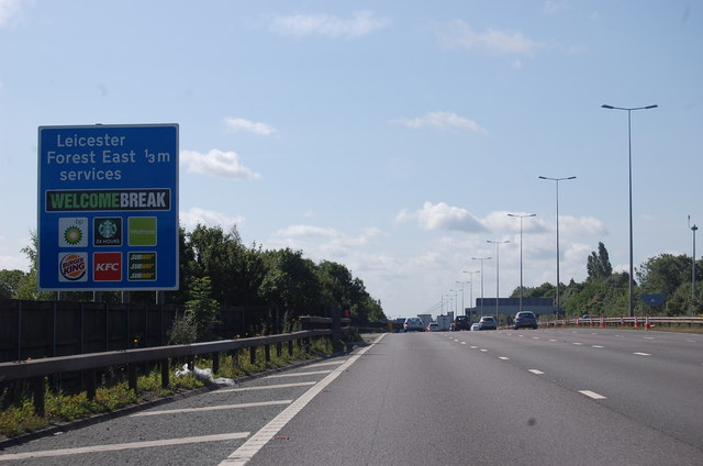M1 approaching Leicester Forest East Services