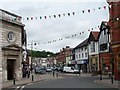 SO1091 : Bunting in Broad Street, Newtown, Powys by Christine Johnstone