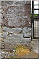 NY6519 : Benchmark on building at Jerusalem Farm by Roger Templeman
