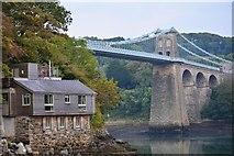 SH5571 : Menai Suspension Bridge from the Belgian Promenade by Oliver Mills