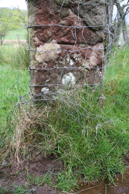 Benchmark on gatepost beside track at Little Clinch