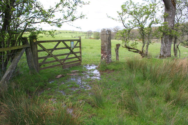 Gateway on muddy track north of Barwise Hall