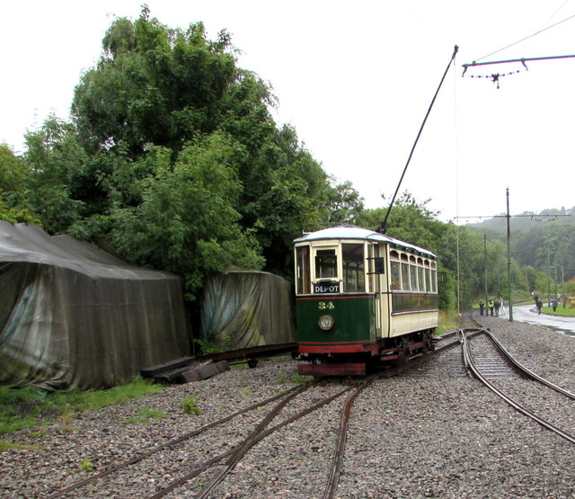 Tram 34 outside Albion Tram Depot in the Black Country Living Museum, Dudley