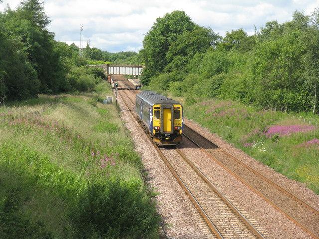 Train approaching West Calder by M J Richardson
