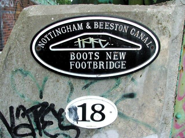 Nameplate, Boots New Footbridge