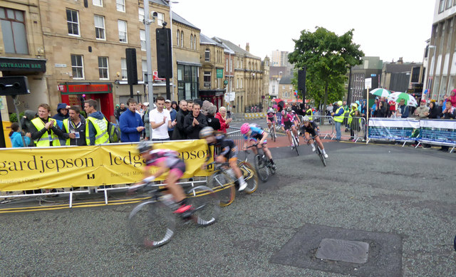 Elite ladies competing in the British Cycling town centre race Barnsley