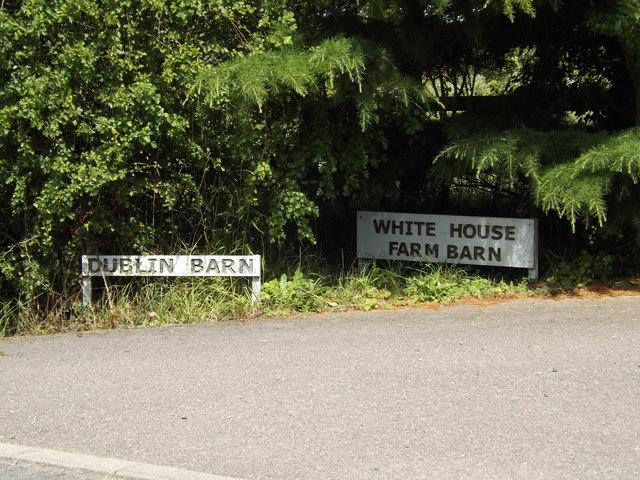 White House Farm Barn & Dublin Barn signs