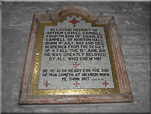 SK2381 : St Michael, Hathersage: memorial (B) by Basher Eyre