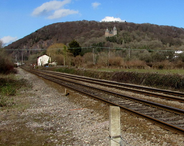 Towards Castell Coch from Gelynis level crossing, Morganstown, Cardiff