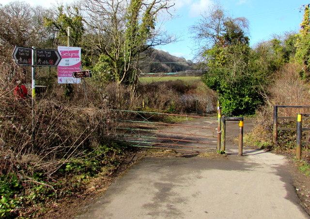 Taff Trail signposts near Iron Bridge, Tongwynlais