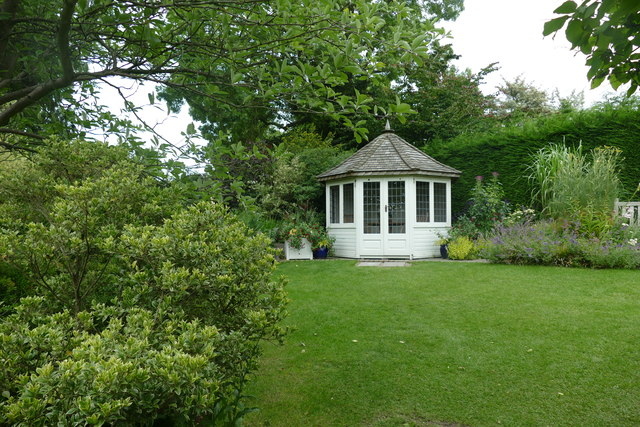 Summer house and lawn at RHS Garden Harlow Carr