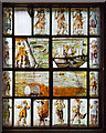 SJ4154 : St Chad's church, Farndon - the Civil War window (1) by Mike Searle