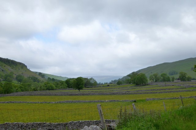 Parallel strips of fields south of Kettlewell