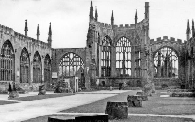 Ruined interior of Coventry Cathedral, 1951