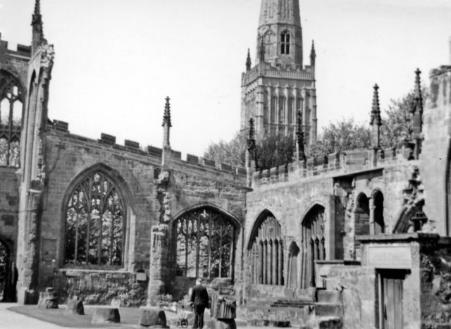 Coventry Cathedral, 1957: view from ruined nave to Holy Trinity spire