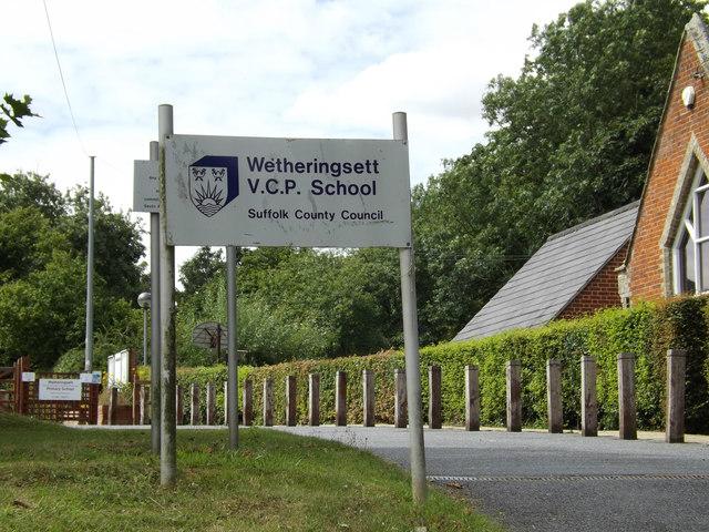 Wetheringsett V.C.P. School sign