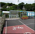 SM9438 : Cycle lane to the cycle racks outside  Fishguard and Goodwick railway station, Goodwick by Jaggery