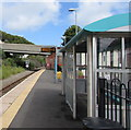 SM9438 : Shelter and electronic display board at  Fishguard and Goodwick station by Jaggery