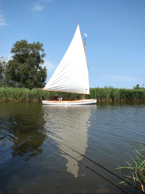Sailing down Candle Dyke towards the River Thurne
