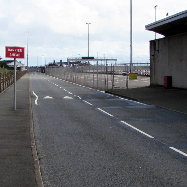 Barrier ahead sign on the approach to  Fishguard Harbour