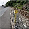 SM9438 : Yellow milepost 288 near Fishguard Harbour railway station by Jaggery