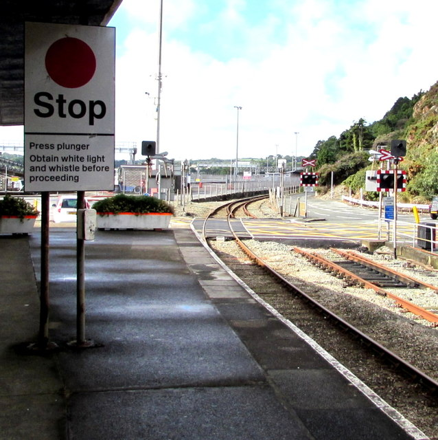 Stop sign on Fishguard Harbour railway station