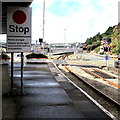 SM9538 : Stop sign on Fishguard Harbour railway station by Jaggery