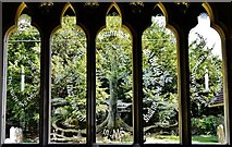 SU3940 : Wherwell: The Church  of St. Peter and the Holy Cross; etched glass window by Michael Garlick