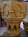SU3940 : Wherwell: The Church  of St. Peter and the Holy Cross: The font by Michael Garlick