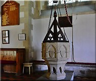 SU3940 : Wherwell: The Church  of St. Peter and the Holy Cross; the font by Michael Garlick
