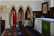 SU3940 : Wherwell: The Church  of St. Peter and the Holy Cross: Gothic Revival by the altar by Michael Garlick
