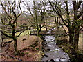 SS8796 : Wooden footbridge over a stream, Cymmer by Jaggery
