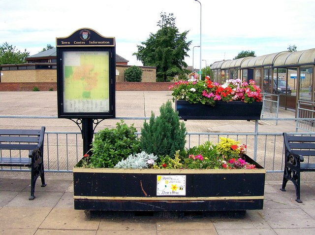 Floral welcome at Bourne bus station, Lincolnshire