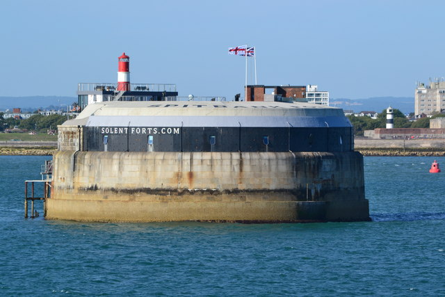 Spitbank Fort with Southsea Castle lighthouse beyond