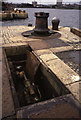 SJ3289 : Hydraulic capstan at the entrance to Wallasey Dock by Chris Allen
