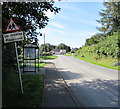 SN0120 : Wonky sign near a bus shelter in Clarbeston Road by Jaggery
