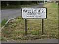 TL1514 : Valley Rise Sign by Adrian Cable