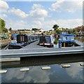 SJ9098 : Narrowboats at Droylsden Marina by Gerald England