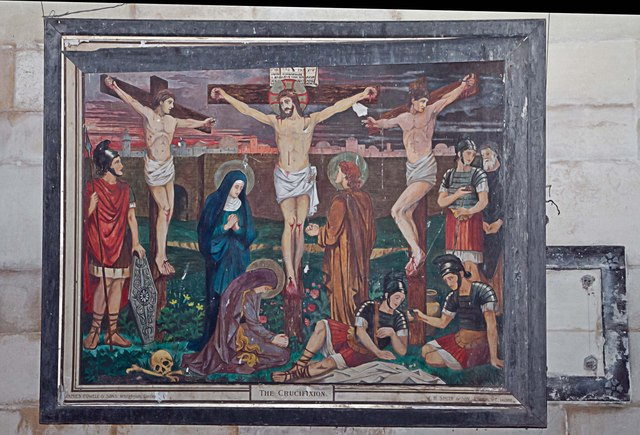 Crucifixion painting, West Tofts church