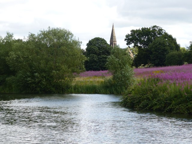 Winding hole, Bridgewater Canal, and St Peter's Oughtrington
