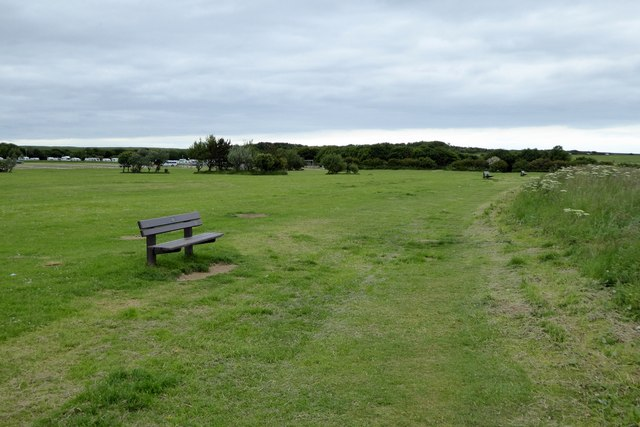 Footpath and seats on North Cliff Country Park, Filey