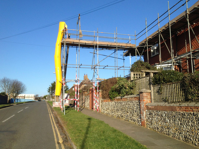 Arundel Road, Seaford, with scaffolding round a house