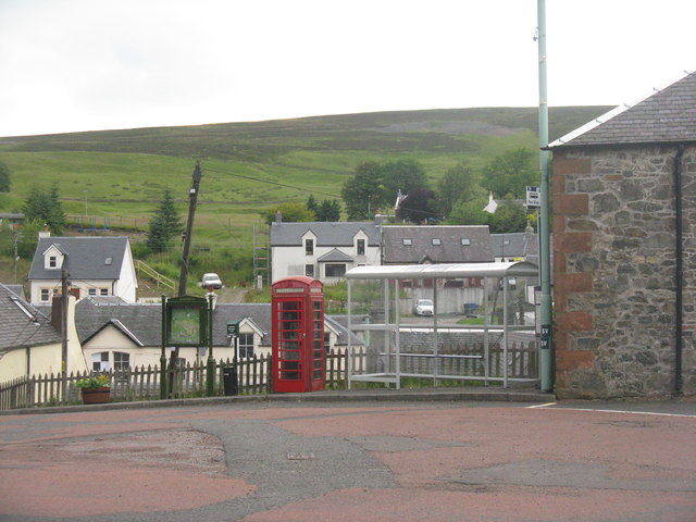 Bus stop and phone box at Leadhills