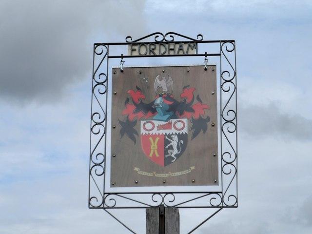 Village sign, Fordam